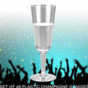 48pcs Disposable Clear Plastic Cocktail Glasses Cold Drink Bbq Xmas Party Flute