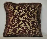 Burgundy Or Red Gold Floral Chenille Fringe Pillow For Sofa Chair Made Usa