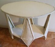Early 20th Cent American Victorian Oval Wicker Tableopen Sideswood Top And Shelf