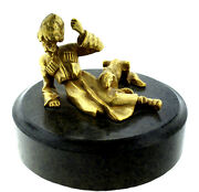 Russian Kazak With A Dog Marble Bronze Gold Overlay C1930 Statue Decor Home