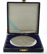 Collectible Sterling Silver Mirror Compact Powder D 4 1/4'' Box Asian Motif
