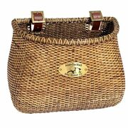 Nantucket Bicycle Lightship Classic Basket Stained Rattan + Leather Straps