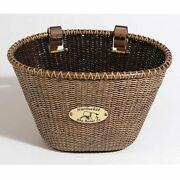 Nantucket Bicycle Lightship Oval Basket Stained + Leather Straps 14x10x8.5