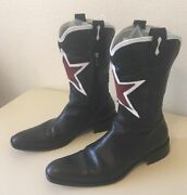 Mens Luxe Black Red White Star Vintage Designer Cowboy Boots Size 12 Italian