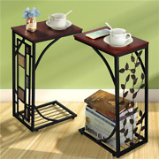 C Shaped End Table Living Room Sofa Table Coffee Table Snack Table Trays