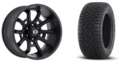 20x10 Satin Vision Bomb Fuel At Tire Wheel And Tire Package 5x5.5 Dodge Ram 1500