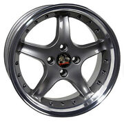 17 Ford Mustang Cobra R Style Rims Wheels 4 Lug Replacement Grey 79-93' 17x8