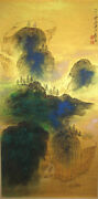 Chinese 100 Hand Scroll Painting Gold Splash-color Landscape Zhang Daqian张大千