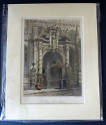 C1880s Hand Coloured And Mounted Engraving People St Maryand039s Porch Oxford