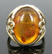 Vintage Big Size Natural Amber And 14k Yellow Gold Floral Ring Size 8