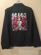 Felon By Lucky 13 Men's Unlined Chino Jacket With Skull/snake/cross Embroidery