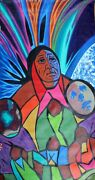 Jerry Whitehead Original Acrylic Painting On Canvas First Nations Cree 1994