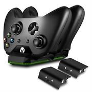 Xbox One Wireless Dual Controller Charger Dock Kit + 2 Rechargeable Batteries Ne