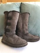 Women's Size 7 Brown Ugg Bailey Button Triplet Winter Boots F19010d 1873 Warm