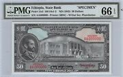 Ethiopia 50 Nd.1945 P 15s2 Specimen Series Aa Pmg 66 Uncirculated Banknote
