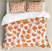 Tea Duvet Cover Set Twin Queen King Sizes With Pillow Shams Ambesonne