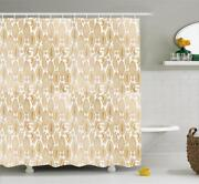 Cocoa Pattern Shower Curtain Fabric Decor Set With Hooks 4 Sizes