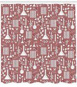 Apothecary Pattern Shower Curtain Fabric Decor Set With Hooks 4 Sizes