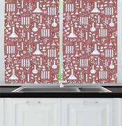 Apothecary Kitchen Curtains 2 Panel Set Window Drapes 55 X 39 Ambesonne