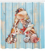 Seashell Letters Pattern Shower Curtain Fabric Decor Set With Hooks 4 Sizes
