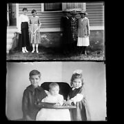 Lot Of 2 Baby Women With Hats Photo Glass Plate Negatives C1900 5.5 X 3.25