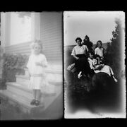 Lot Of 2 Women Posing Relaxed Child Photo Glass Plate Negatives C1900 5.5 X 3.25