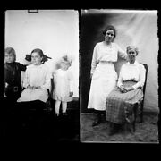 Lot Of 2 Mothers And Daughters Photo Glass Plate Negatives C1900 5.5 X 3.25