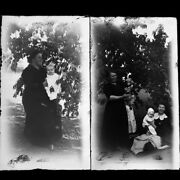 Lot Of 2 Family Farm Orchard Photo Glass Plate Negatives C1910 5.5 X 3.25