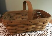 Longaberger Rare 1983 Small Chore Or Easter Basket-dark Stain, Temporary Stamp