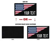 Morale Personalized Text 2x3.5 Usa Flag Patch W/hook Fastener Or Sew On.