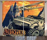 Adventure Saying Curtains 2 Panel Set For Decor 5 Sizes Available Window Drapes
