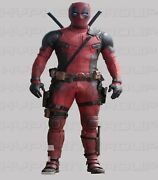 Ryan Reynolds Deadpool Movie Motorcycle Gear Leather Two Piece Suit Shoes Gloves