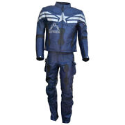 Captain America Winter Soldier Biker Leather Two Piece Suit With Safety Armour