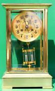 And Co Antique French 8 Day 4 Glass Crystal Regulator Mantle Clock