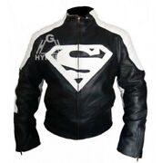 New Superman Man Of Steel And Smallville Black And White Leather Shield Jacket