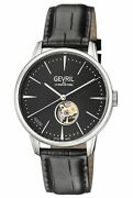 Gevril Menand039s Mulberry Watch 9600 Automatic Black Leather Open Case Back Window
