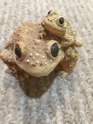 Stone Critters Brown Mother And Baby Frogs Figurine