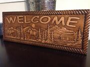 8 1/2 X 22 X 3/4 Wood Carved Welcome Sign With Bear Moose Trees And A Cabin