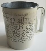 Vtg Androck 3 Cup Flour Sifter White Blue Flowers Farmhouse Country Kitchen