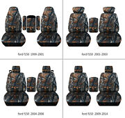 Fits Ford F150 99-14 Car Seat Covers Camo Gray Tree Fr Bucket Seats+lid Cover