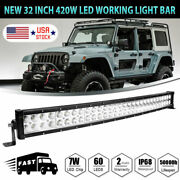 32inch 420w Curved Led Work Light Bar Combo Boat For Jeep Offroad Lamp Pk 30/34