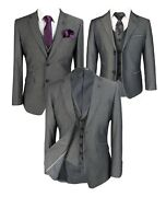 Designer Menand039s And Boys Slim Fit Charcoal Grey Business Office Wedding Formal Suit