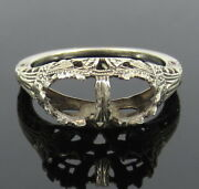 Antique 18k White Gold Decorated Semi Mount Twin Ring
