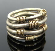 Vintage Silver And 14k Yellow Gold Hand Made Multi Coil Ring