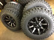 Mo970 17x9 Black Machined Wheels Rims Mt Tires Package 8x6.5 33 Dodge Ram Chevy