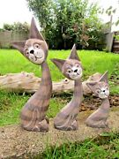 Hand Carved Made Wooden Grey Cat Cats Statues Set Of 3 Sculpture Ornaments
