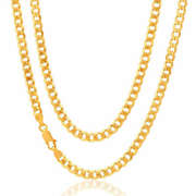 9ct Solid Gold Hallmarked Bevelled Heavy Curb Chain - All Lengths Available