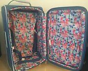 Rare Diane Von Furstenberg Dvf 21andrdquo Carry On Luggage Expandable Blue W/ Extras