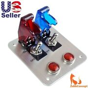 2 Rows Red Blue Safety Cover Toggle Switch Red Indicator Light Aluminum Plate