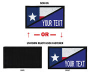 Morale Personalized Text 2x3.5 Texas Flag Patch W/hook Fastener Or Sew On.